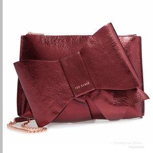 Ted Baker Aliysa Crackle Bow Leather Clutch Maroon